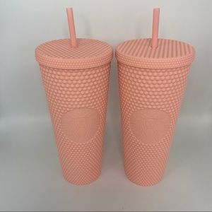Starbucks pink matte studded cups - two!